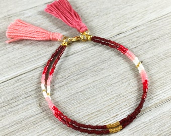 Boho Beaded Friendship Bracelet, Red Ombre Tassel Bracelet, Dainty Fall Layering Bracelet, Bestfriend Gift