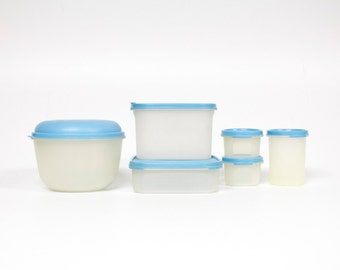 Lot of 6 Tupperware boxes with blue lids-storage-Stock boxes-Sprinkle box