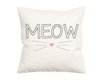 Meow- Throw Pillow- Decorative Pillow-Throw Pillow Cover