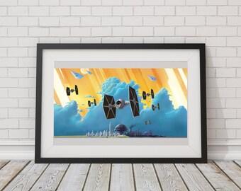 LARGE SIZE Tie Fighter Print / Star Wars Rebels / Big Starwars Print / Large Star Wars Poster / Tie Fighter Poster / Siege of Lothal