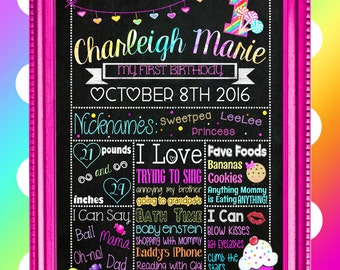 """Cupcakes & Candy 1st Birthday Chalkboard Sign - 18"""" x 24"""" (Digital File)"""