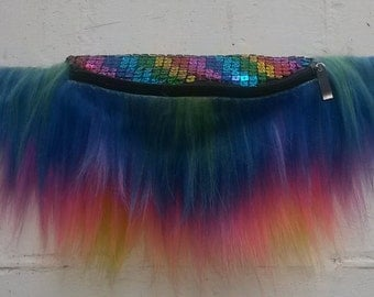 Sequin Rainbow Faux Fur Bum Bag