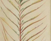 """Original """"Peacock Feather"""" rectangular 4""""x12"""" acrylic canvas painting bird art"""