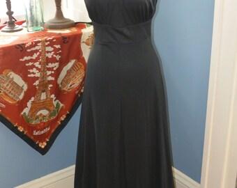 70s Vachon St. Tropez Long Halter Gown with Keyhole chest cutout detail