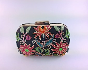 Black multicolour embroidery box clutch,floral pattern,silk thread work,classic clutch,evening bag,bridal,party clutch,prom,gift,embellished
