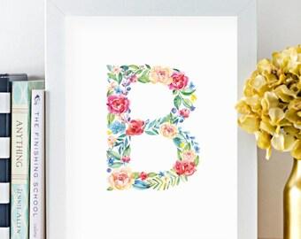 Monogram, Letter B, Watercolor, Floral, Printable, Girls room art, Girls Nursery ideas, Girls nursery print, Flowers, leaves, Kids art, Pink