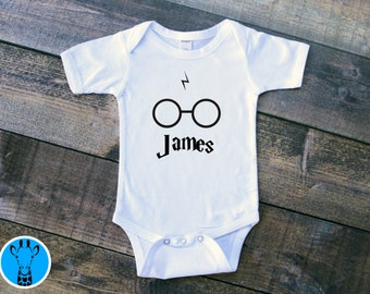 Harry Potter Bodysuit, Harry Potter Onsie, Custom Harry Potter Bodysuit, Custom Onsie, Personalized Baby Clothes, Harry Potter Glasses Scar