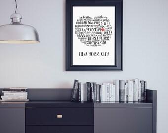 Big Apple - NYC Neighborhoods (Digital Printable)