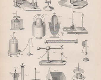 Antique Electro Magnetism Print - Antique Scientific Lithograph from 1875