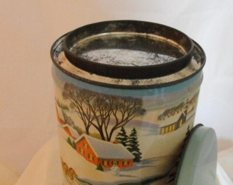 Snow Winter Scene Can Double-Lid Tin  (335)