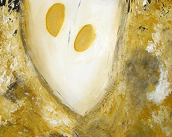 "Medusa  24"" x 48""  -  Original Abstract Painting (Yellow, Black, White, Grey)"