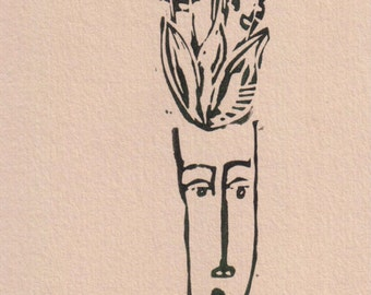 The flower head, greeting card