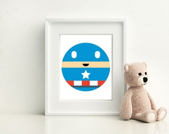 Captain America Little Boy- Nursery and Children's Room art print