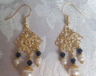Swarovski Crystal and Pearl Chandelier Earrings Jet Black Gold White
