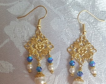 Swarovski Crystal and Pearl Chandelier Earrings Sapphire AB2X Gold White September Birthstone