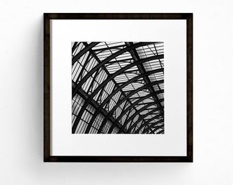Square Print, London Wall Art, Abstract Photograph, Covent Garden, Fine Art Print, Architecture Print, Black and White Photography
