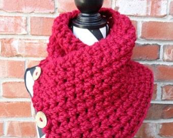 Chunky 3 Button Crochet Cowl - Geneva Scarf