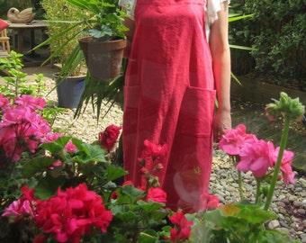 Cross Back Apron, Linen Cotton, Vivid Orangey-Pink No 4:4