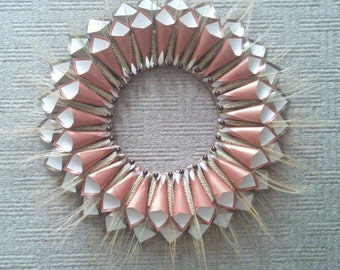 Paper wreath with bearded wheat and beads.