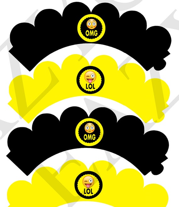 OMG Emoji Cupcake Wrapper