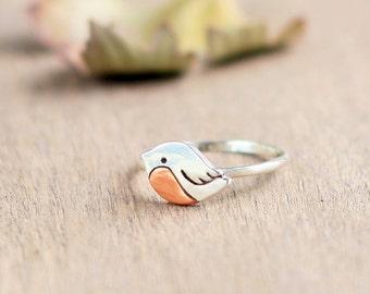 Silver ring little bird - Love bird ring, bird jewelry, little bird, tiny bird, silver bird ring