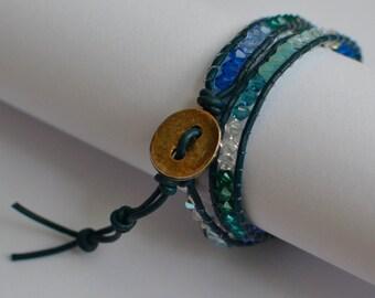Chan Luu blue wrap bracelet with swarovski crystals