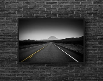 Road Photo Print - Highway Photo - Road Photo - Road Trip Photo - Black and White - Road Wall Art - Men Room Decor - Minimalist Photo