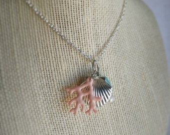 Seashell Locket Necklace with freshwater pearl - CHOOSE YOUR COLOR