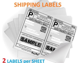200 ~ Easy-Peel Half Page Shipping Mailing Labels, 100 Sheets Total, Shipping Labels for Paypal, Stamps.com, Shipping USPS, FEDEX, UPS, Etsy