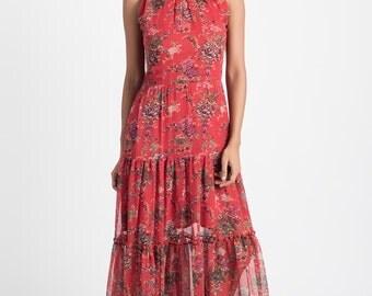 Red Silk Chiffon Maxi Dress