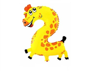 Giraffe Number 2 Balloon- Air Only-Does Not Float-Safari Balloons, Animal Balloons Number Balloons-Birthday Party Balloons Melman Madagascar