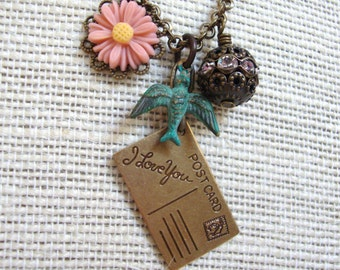 I Love You Postcard Necklace, Patina Bird, Peach Flower and Rhinestone Bead Charm Necklace