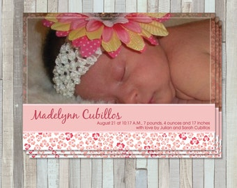 Pink Flowers New Baby Birth  Announcement