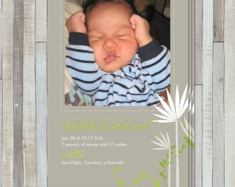 Bamboo New Baby Birth  Announcement