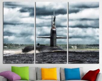 Large Submarine Wall Art Decor Army Wall Art Battleship Canvas Art Military Wall Art Decor Sea Fight Print Submarine Poster Submarine Photo