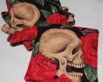 Quilted Coaster Set Skull & Rose Design Skeleton 5 Piece Set