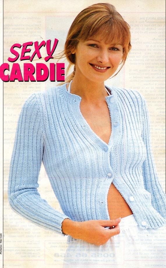 Knitting Pattern Cardigan 8 Ply : Ladies Knitting Pattern Cardigan in 8 Ply Cotton cardie button down front pdf...
