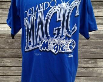 Vintage 90s ORLANDO MAGIC T Shirt by Salem Sportswear - XL - roll up sleeves