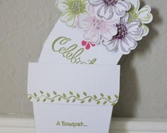 Happy Birthday Flower Pot Card - White