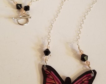 Pink paradise butterfly necklace