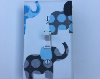 Blue and Gray Elephant Light Switch Plate - Elephants Light Switch Cover-Lilac Nursery -Baby Boy  Elephant Room-Polka Dot Outlet Cover