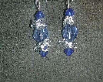 Blue and Silver Dangly Earrings
