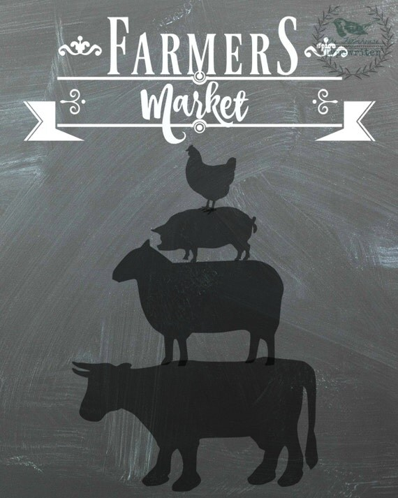 Farmer's Market/Stacked Animals Farmhouse 8 X 10 and 18 X 24 Chalkboard Download Art
