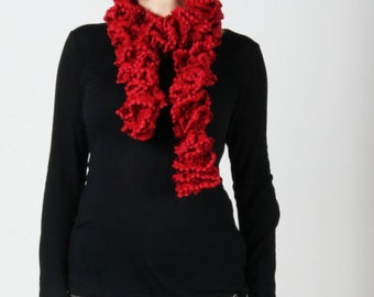 Red Rippled Pom Pom Scarf