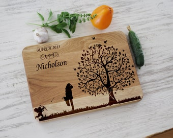 Unique wedding gift for|couple Personalized cutting board Kitchen decor Engagement gift idea Family tree Wooden cheese board Chopping board