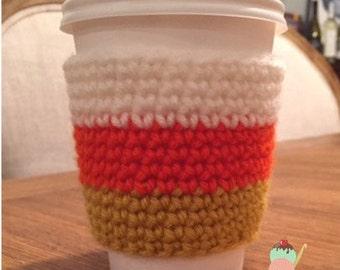 Candy Corn Coffee Cozy - Coffee Sleeve - Crochet Handmade to Order