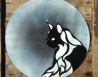 Mystic Cat - Spray paint wall art on vinyl (blue)