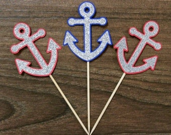 Nautical Anchor Cupcake Toppers - Royal Blue/Red and Silver Combo