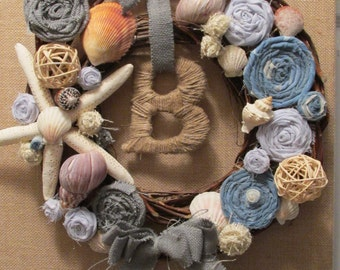 Grapevine Beach Wreath with Shells and Fabric Roses
