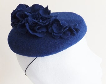 Blue wool beret hat